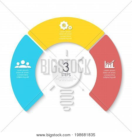 Light bulb business infographic. Template for presentation, diagram, graph. Vector illustration with 3 element, step, option.