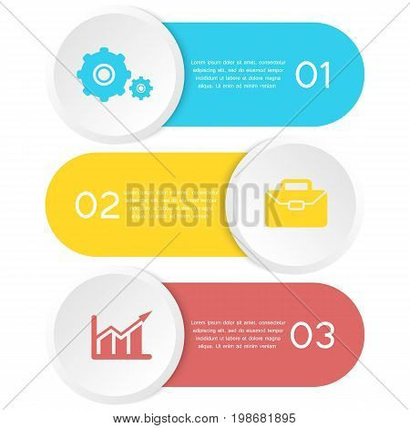 Abstract template element for infographic. Can be used for presentation, diagram, graph. Business concept with 3 options, parts, steps.