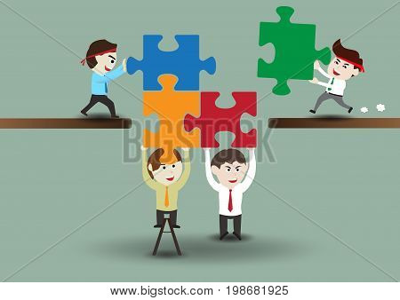Teamwork, business men assembling pieces of a puzzle, template