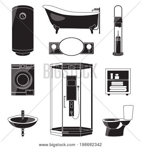 Monochrome illustrations of bathroom furniture and others sanitary symbols. Vector black pictures isolated. Bathroom furniture bath and toilet