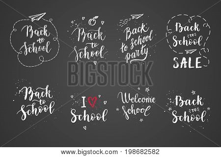 Back to school labels greeting cards set. Vector quote I love school Back to school sale with hearts stars airplane.