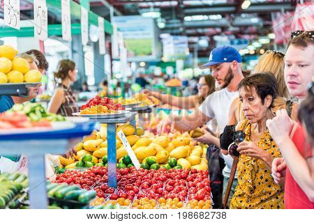 Montreal Canada - May 28 2017: People trying samples and buying produce by fruit and vegetable stands at Jean-Talon farmers market with tomato displays
