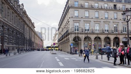 ParisFrance- April 29 2017: Rivoli Street. On the street pedestrians and moving vehicles