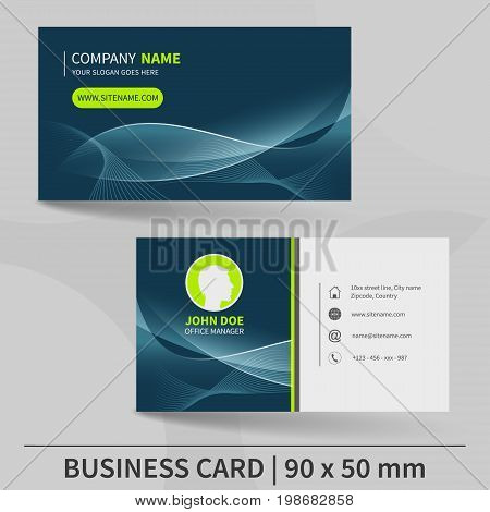 Business Card Template With Abstract Wavy Pattern. Suitable For Printing. Vector Illustration.