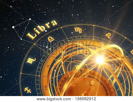 Zodiac Sign Libra And Armillary Sphere On Blue Background. 3D Illustration.
