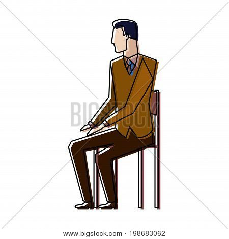 businessman sitting on chair taking a break vector illustration