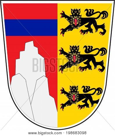 Coat of arms of Oberallgau is a district in Swabia Bavaria Germany. Vector illustration from the