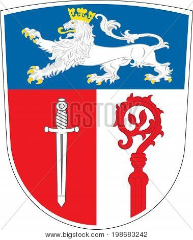 Coat of arms of Ostallgau is a district in Swabia Bavaria Germany. Vector illustration from the