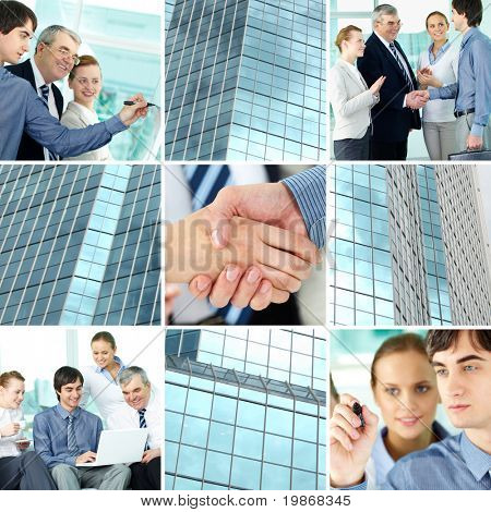 Collage of business team and office building