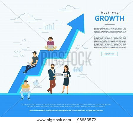 Business graph growth concept vector illustration of professional people working together as team and sitting on arrow. Flat people working with laptop to develop business. White business poster
