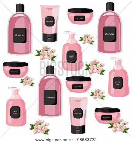Vector Cosmetics set package pattern. Hydration cream and lotion, shampoo, nail polish, lip balm. Perfect for advertising, flyer, banner, poster. 2d illustrations
