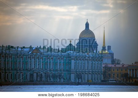 View of the Hermitage the Winter Palace St. Isaac's Cathedral and Admiralty from the Neva river. Saint Petersburg Russia the character architecture history art