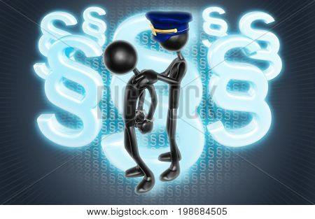 Police Officer Arresting Another In Handcuffs The Original 3D Characters Illustration