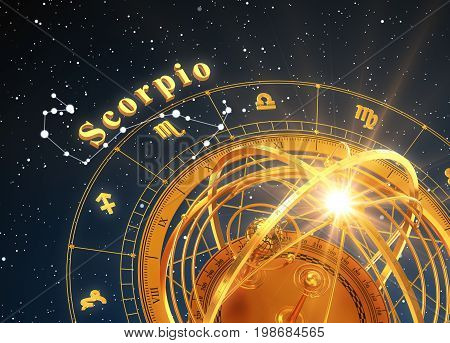 Zodiac Sign Scorpio And Armillary Sphere On Blue Background. 3D Illustration.