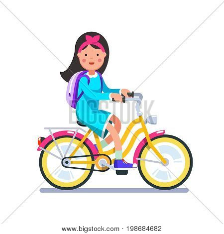 Teen kid school girl cycling on bicycle wearing backpack. Young teen woman hipster riding retro bike. Flat style character vector illustration isolated on white background.