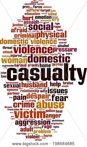Casualty word cloud concept. Vector illustration on white