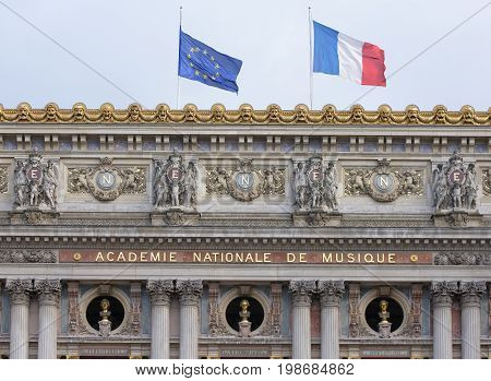 ParisFrance- April 30 2017: Opera Garnier. Between the columns are inscribed busts of great composers among them: Spontini Mozart Beethoven