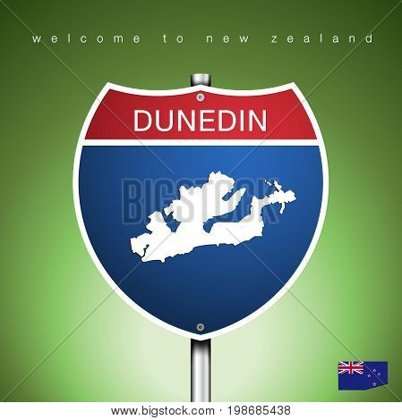 An Sign Road America Style with state of New Zealand with green background and message DUNEDIN and map vector art image illustration