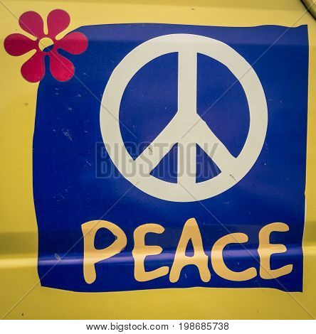 The peace symbol on a van in argentina