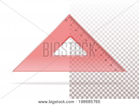 Red plastic transparent triangle. Triangle ruler isolated on a transparent and white background. Rectangular equilateral triangle. Realistic vector illustration