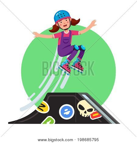 Teen doing stunt jump from skate park quarter pipe ramp on skateboard. Extreme sport girl riding board wearing helmet, kneepads. Flat style character vector illustration isolated on white background.