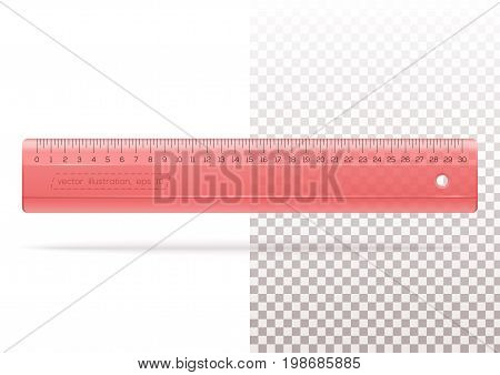 Transparent plastic red ruler on a transparent and white background. Yardstick. Measuring ruler for school or office. Realistic vector illustration