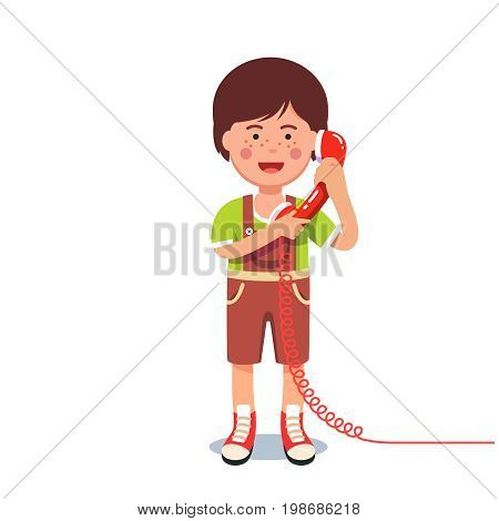 Kid boy talking on a retro wired telephone holding wired headset with both hands. Flat style character vector illustration isolated on white background.
