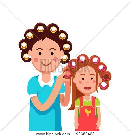 Mother and daughter girl doing curly hairstyle with hair rollers. Woman togetherness and parenting. Flat style character vector illustration isolated on white background.