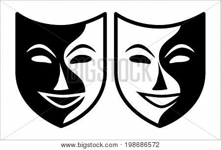 Set of two theatrical masks executed in black and white color