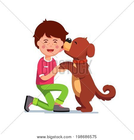 Puppy dog licking kids face. Excited boy holding his cute new pup paws in hands. Best friend pooch. Flat style vector illustration isolated on white background.