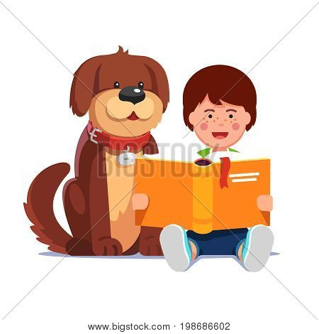 Kid reading a book sitting next his cute happy dog best friend. Boy and pooch learning together. Flat style vector illustration isolated on white background.