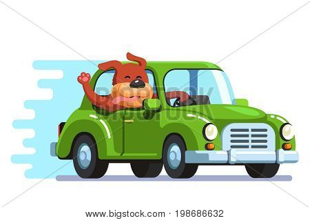 Cute happy dog riding retro passenger car having fun. Pooch diving and catching wind with sticking out head, face, waving tongue and paw. Flat style vector illustration isolated on white background.