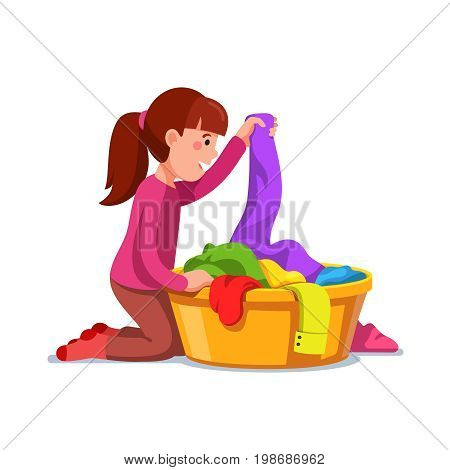 Little girl kid doing housework chores sorting dirty laundry in clothes basin. Flat style character vector illustration isolated on white background.