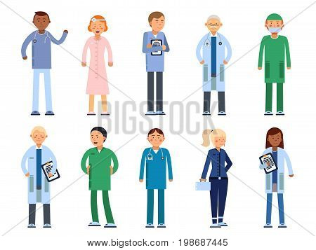 Healthcare people in hospital. Pharmacist, doctor, nurse and other medical characters doctor, surgeon and pharmacist, paramedic specialist in uniform. Vector illustration