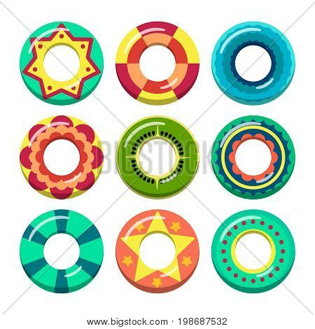 Lifeguard swimming rings in different colors. Vector illustrations of inflatable toys. Rubber ring toy for swim water