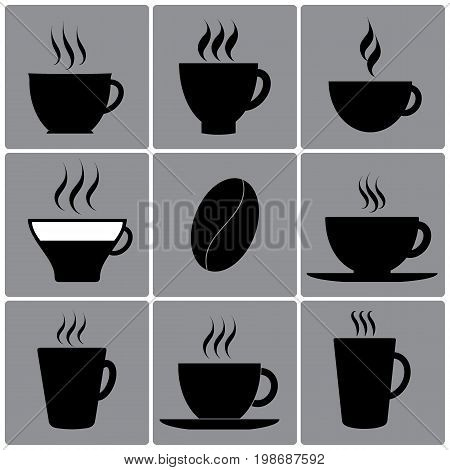 Types of cups, dishes, glasses. Coffee cup, cup of tea, latte, cocktails, americano espresso grain kofe Black vector icons cup