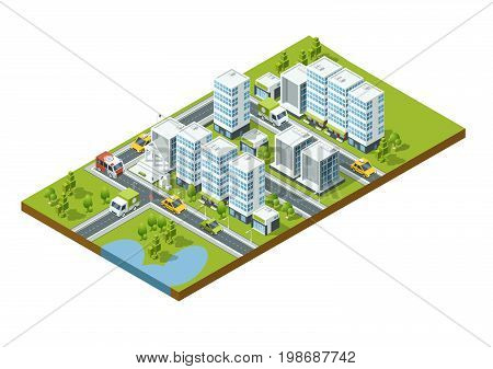 Isometric perspective city with streets, houses, skyscrapers, parks and trees. Skyscraper isometric map street, vector illustration
