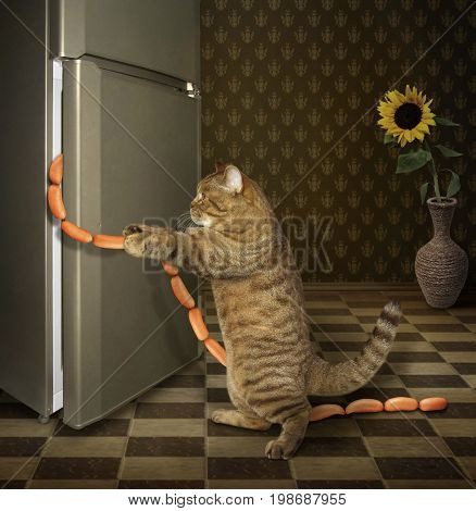 The cat is stealing sausages from the big refrigerator.