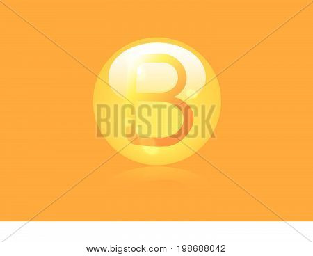 Vitamin B shining pill capsule icon . Vitamin complex with Chemical formula, group B, Cyanocobalamin, hydroxocobalamin. Vector illustration