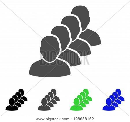 People Queue flat vector icon. Colored people queue, gray, black, blue, green pictogram variants. Flat icon style for application design.