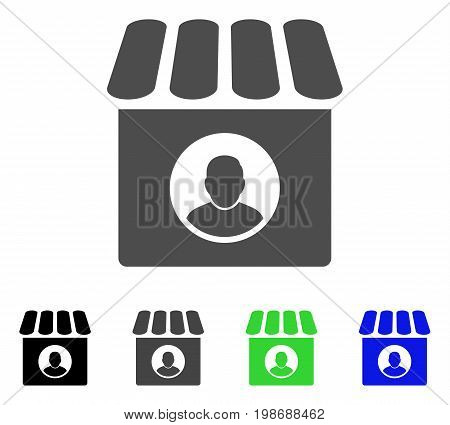 Shop Seller flat vector illustration. Colored shop seller, gray, black, blue, green pictogram versions. Flat icon style for graphic design.