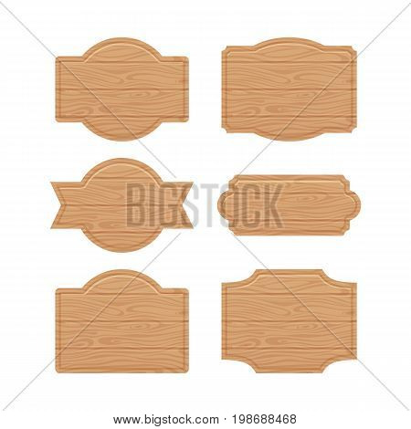 Set of wooden sign boards for sales prices. Wooden board blank, vector wood banner for advertisement illustration