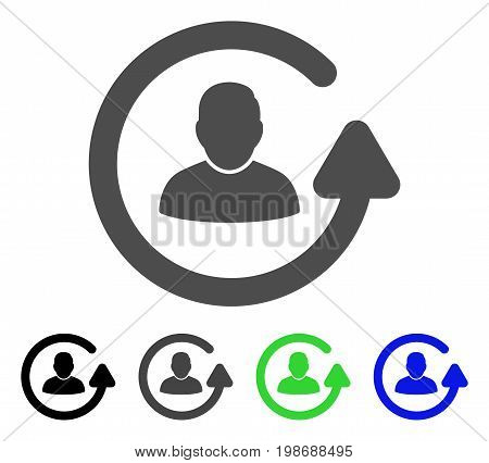 Update User flat vector pictogram. Colored update user, gray, black, blue, green icon variants. Flat icon style for application design.