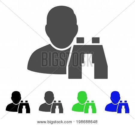 User Binoculars Search Tool flat vector icon. Colored user binoculars search tool, gray, black, blue, green icon versions. Flat icon style for application design.