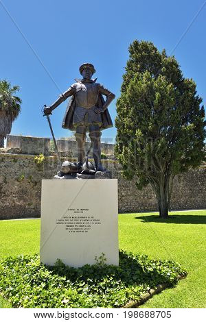 Diogo De Meneses Monument In Cascais, Portugal