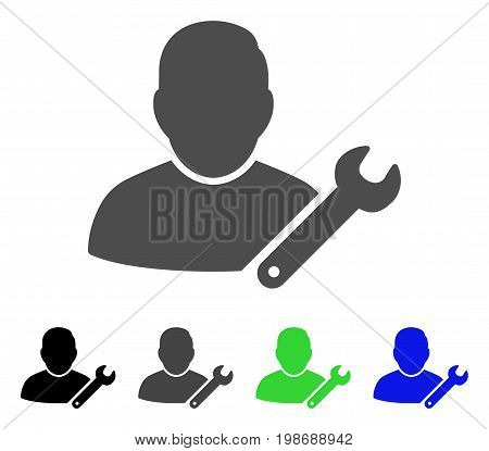 User Customize Wrench flat vector illustration. Colored user customize wrench, gray, black, blue, green icon versions. Flat icon style for graphic design.