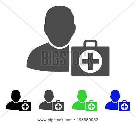 User First Aid flat vector pictograph. Colored user first aid, gray, black, blue, green pictogram versions. Flat icon style for web design.