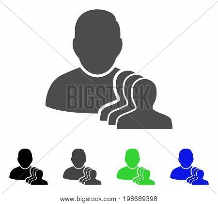 User Pawns flat vector illustration. Colored user pawns, gray, black, blue, green icon variants. Flat icon style for web design.