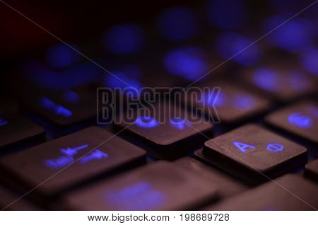Close Up. Blue Backlight, Backlit On Laptop Or Keyborad Computer Of Gaming In The Dark. Computer Lap