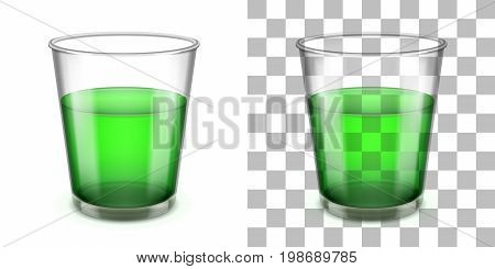 Wider top glass tumbler with a sloped sides and a thick base for various drinks isolated on white and transparent backgrounds. Realistic vector illustration.